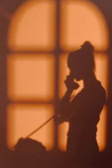 Silhueta de mulher jovem em casa com sombras nas janelas