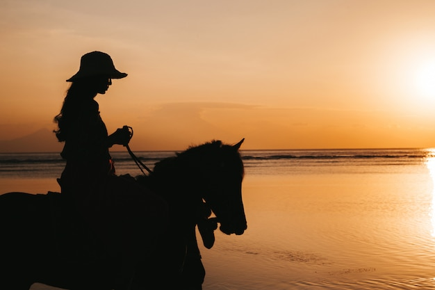 Silhueta de mulher jovem, montando a cavalo na praia durante o pôr do sol colorido dourado perto do mar