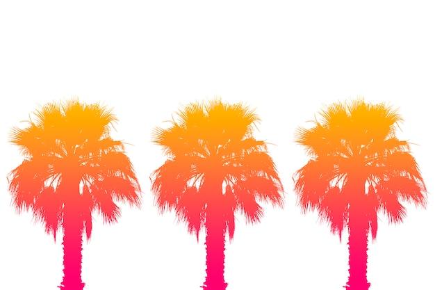 Silhueta de palmeiras com um gradiente de verão brilhante sobre uma superfície branca brilhante. trópico, férias e conceito de viagens