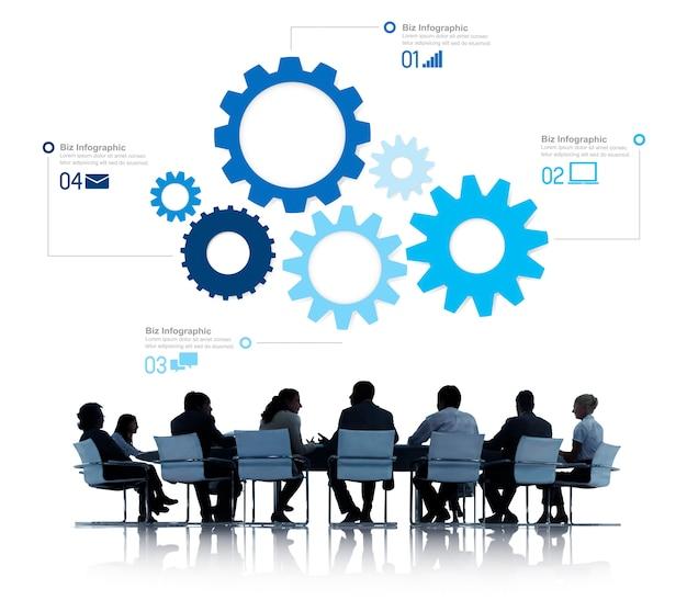 Silhueta de pessoas de negócios reunião infográfico