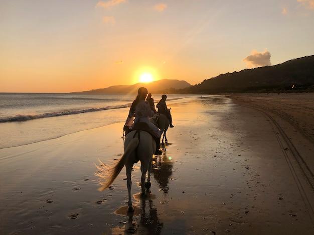 Silhueta de três garotas andando a cavalo na praia ao pôr do sol