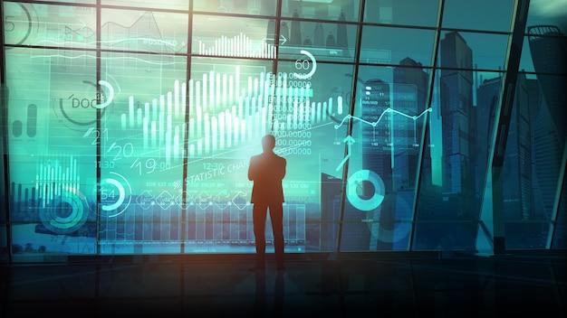Silhueta de um empresário e uma matriz brilhante de dados contra o fundo de uma janela panorâmica com vista para o business center noturno