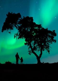 Silhueta de um homem com sua filha, apreciando o céu noturno debaixo de uma árvore