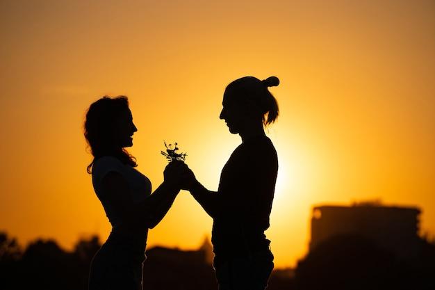 Silhueta de um jovem casal sobre o pôr do sol.