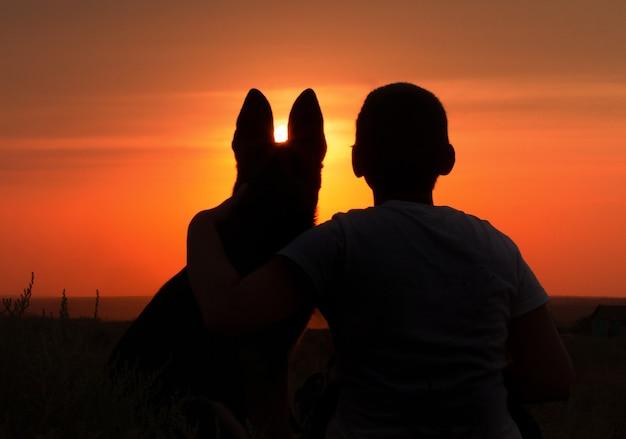 Silhueta de um jovem com um cachorro apreciando o belo pôr do sol em um campo, o menino acaricia seu animal de estimação favorito na natureza, conceito amizade de animal e humano