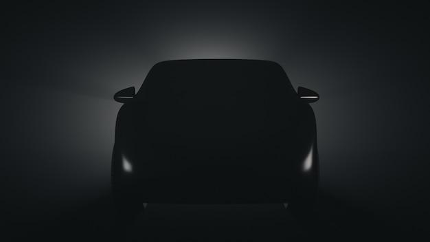 Silhueta de um protótipo de carro de passageiros. vista frontal.