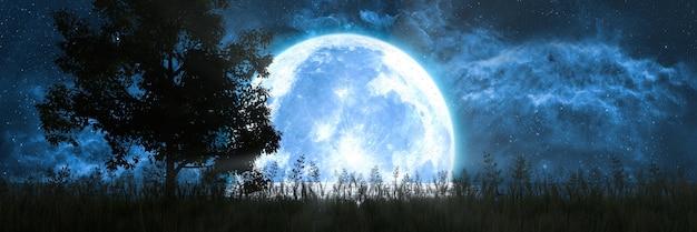Silhueta de uma árvore contra o fundo da lua refletida no oceano, ilustração 3d