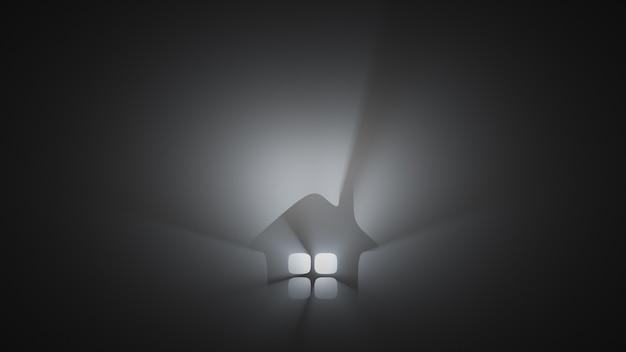 Silhueta de uma casa no meio do nevoeiro Foto Premium