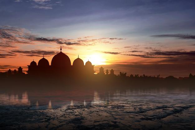 Silhueta de uma mesquita