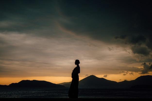 Silhueta de uma mulher grávida ao pôr do sol à beira-mar