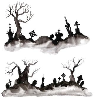 Silhueta em aquarela de uma árvore e um túmulo. cartão postal maravilhoso no dia das bruxas