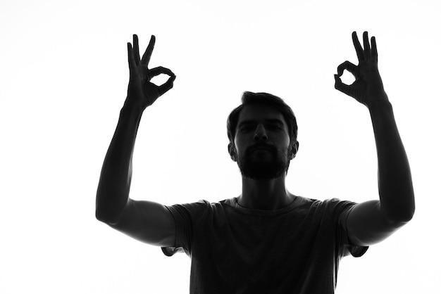 Silhueta homem retrato closeup cortada vista de fundo branco.
