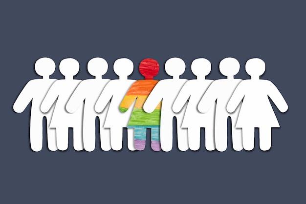 Silhuetas brancas de pessoas e silhuetas de pessoas no arco-íris lgbt