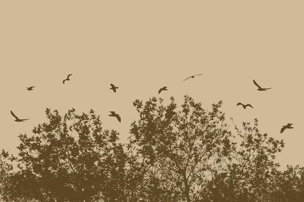 Silhuetas de árvores e galhos com pássaros voando em um fundo bege