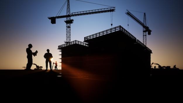 Silhuetas de engenheiros e operários de construção com guindastes