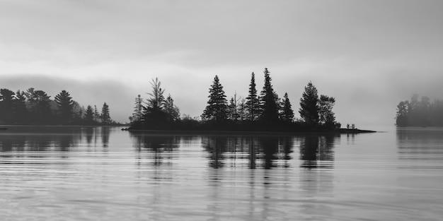 Silueta, de, árvores, em, a, lakeside, lago, de, a, madeiras, ontário, canadá