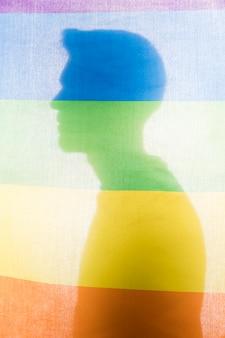 Silueta, de, macho, atrás de, arco íris, bandeira