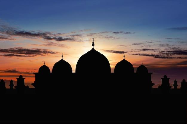 Silueta, de, majestoso, mesquita