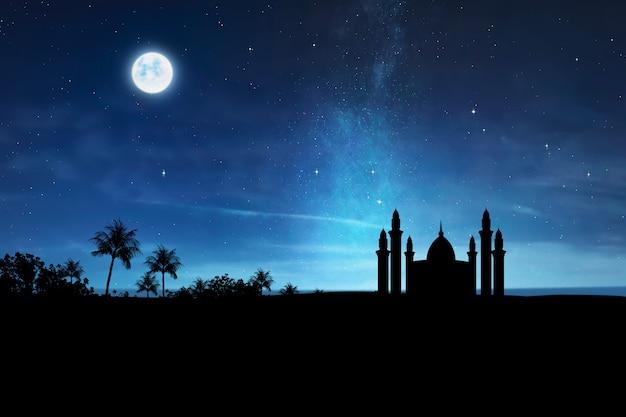 Silueta, de, mesquita, com, alto, minaret