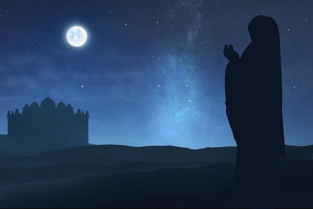 Silueta, de, muçulmano, mulher, levantando mão, e, rezando