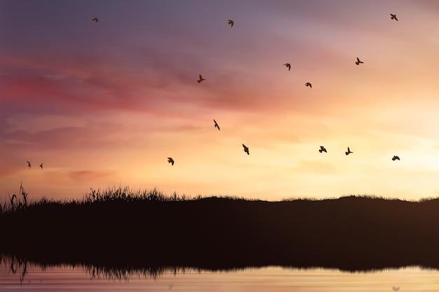 Silueta, de, pássaros, rebanho, voando
