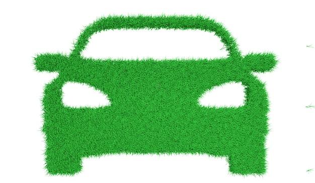 Silueta, de, um, car, feito, de, grama verde, ilustração 3d