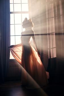 Silueta, de, um, misteriosa, fada, mulher, em, luz solar
