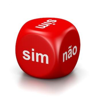 Sim ou não dados vermelhos portugueses