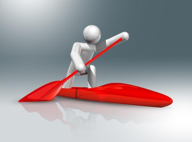 Símbolo 3d de canoa sprint, esportes olímpicos
