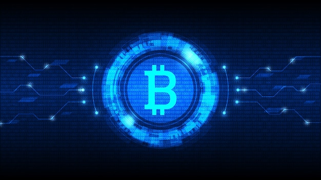 Símbolo bitcoin com interface hud futurística e moeda digital