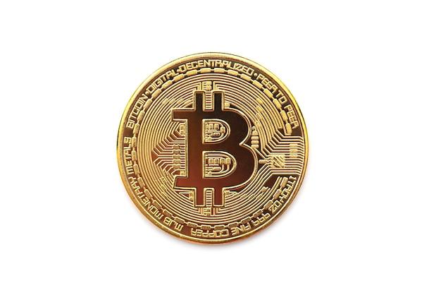 Símbolo bitcoin dourado, moeda redonda como criptomoeda, dinheiro digital