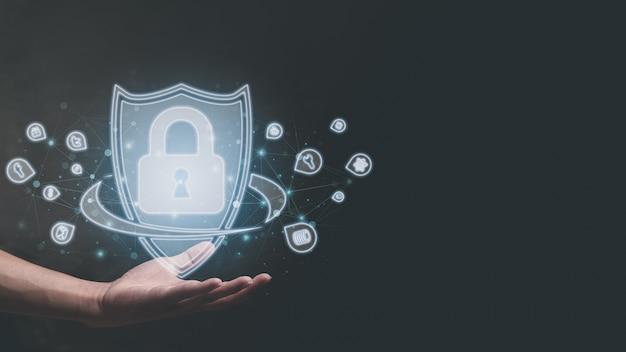 Símbolo, cadeado, proteção de dados na ilustração do mundo online