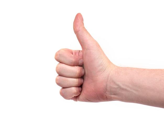 Símbolo como ou sim, ok pelo dedo, homem mostra o polegar para cima mão, sinal de ok pelo homem isolado no fundo branco