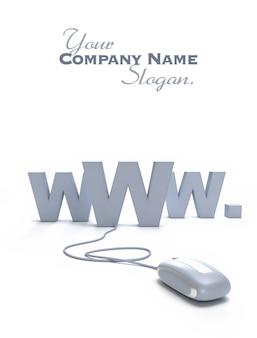 Símbolo da internet www conectado a um mouse de computador