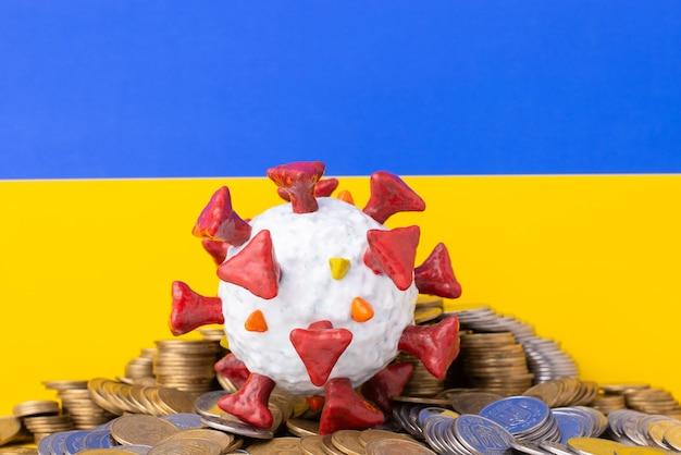 Símbolo da perda econômica da ucrânia devido à pandemia de covid-19