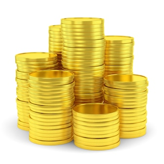 Símbolo da riqueza: pilha de moedas de ouro isolada