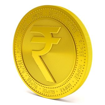 Símbolo da rupia em moeda dourada isolada no fundo branco