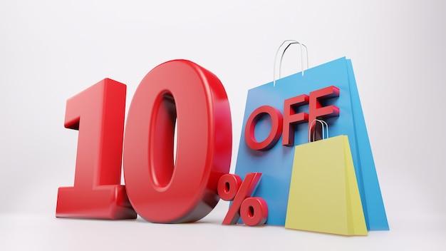 Símbolo de 10% com sacola de compras