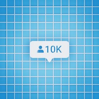 Símbolo de 10 mil seguidores em estilo 3d para postagem em mídia social, tamanho quadrado