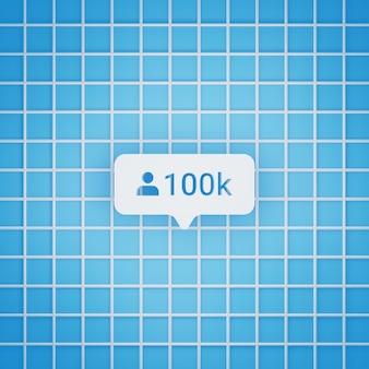 Símbolo de 100 mil seguidores em estilo 3d para postagem em mídia social, tamanho quadrado