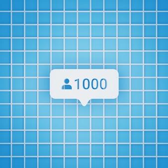 Símbolo de 1000 seguidores em estilo 3d para postagem em mídia social, tamanho quadrado