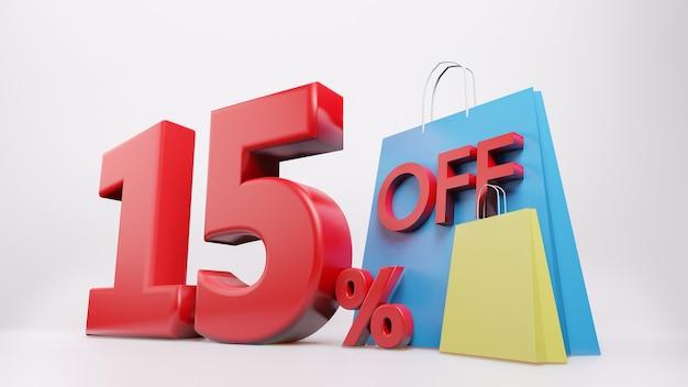 Símbolo de 15% com sacola de compras