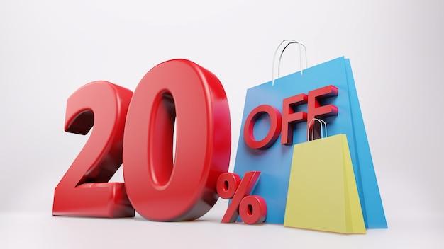 Símbolo de 20% com sacola de compras