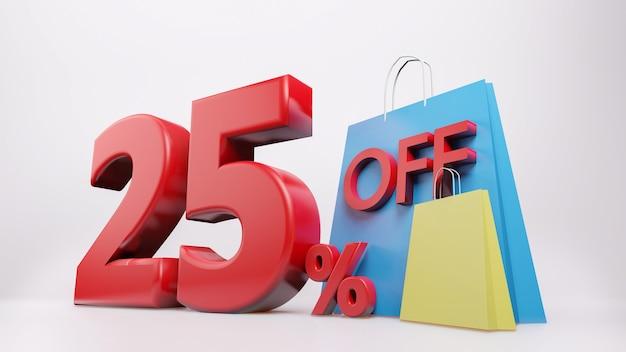 Símbolo de 25% com sacola de compras