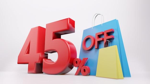 Símbolo de 45% com sacola de compras