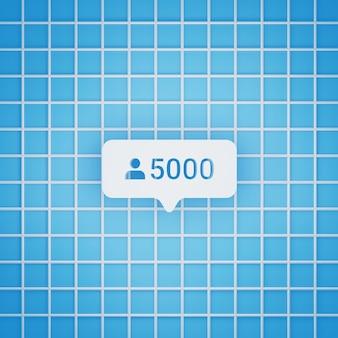 Símbolo de 5.000 seguidores em estilo 3d para postagem em mídia social, tamanho quadrado