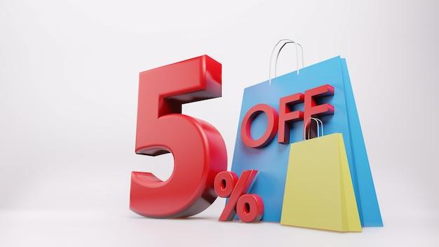 Símbolo de 5% com sacola de compras