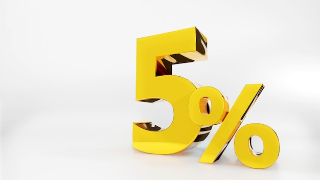 Símbolo de 5% de ouro