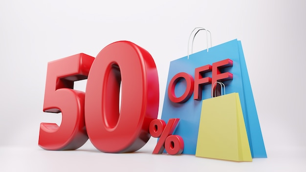 Símbolo de 50% com sacola de compras