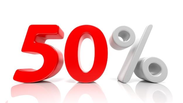 Símbolo de 50 por cento azul isolado no fundo branco. renderização 3d